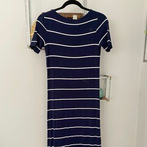Navy & White Striped Jersey Maxi Dress